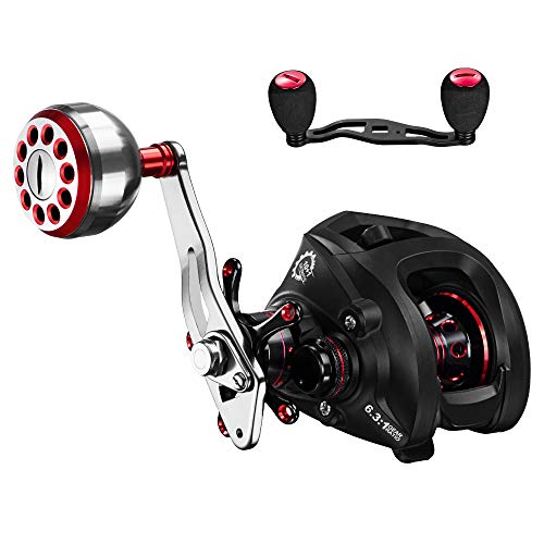 DONVI Baitcasting Reels with Dual Brake System – 6.3 1 Baitcasters Fishing Reel Saltwater or Freshwater – 10 1 Shielded Stainless Steel Ball Bearings Baitcast Reels with Free Fishing Reel Handle