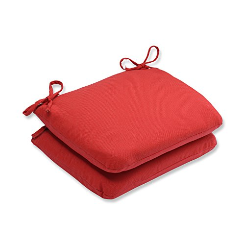 Pillow Perfect, Tweed Red Rounded Corners Seat Cushion