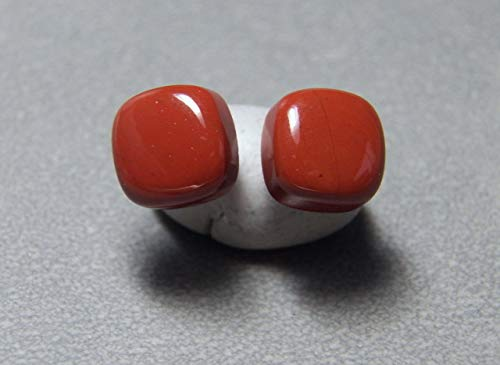 10mm Cushion Red Jasper Stud Earrings and Sterling Silver
