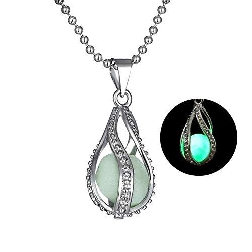 (Lx10tqy 2Pcs/Set Hollow Spiral Teardrop Luminous Beads Pendant Necklace Women Jewelry)