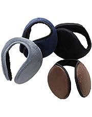MOTZU 4 Packs Unisex Fleece Earmuffs, Foldable Warm Behind-the-Head Ear Warmers