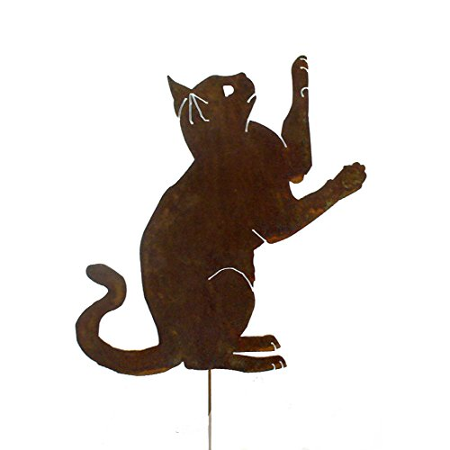 Playing Cat Rusted Metal Garden Stake