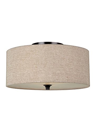 Sea Gull Lighting 75952-710 Stirling Two-Light Flush Mount Ceiling Light with Satin Etched Glass Diffuser and Beige Linen Fabric Shade, Burnt Sienna (Sienna Finish Bath)