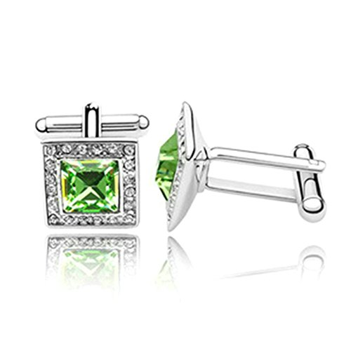 Novelty Silver Plated Cufflinks Square Crystal Cufflinks For mens womens Wedding Green 1.4CM1.4CM1.75CM Unique tuxedo classic Cufflinks With Jewelry Box Aooaz Jewelry