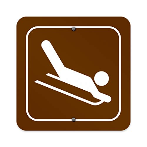 Aluminum Weatherproof Metal Sign Multiple Sizes Sledding Recreation Parks Forestry Camping 18x18Inches Square Street Signs Set of 5 (No Sledding Signs)