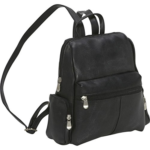 Le Donne Leather Zip Around 4 Pocket Women's Backpack / Purse in Black by Le Donne (Image #4)