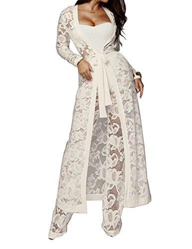 - XXXITICAT Women's Sexy Lace Transparent See Through Wide Leg Pants Tube Top Long Coat Sets Suits(WH,L)
