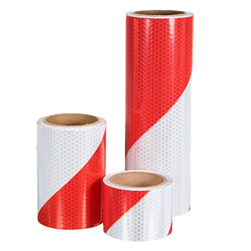 Motorcycle Decals - 5cm/10cm/20cm Traffic Warning Safety Night Reflective Strips Red White Bias Tape Sticker - - Boss Spectacles