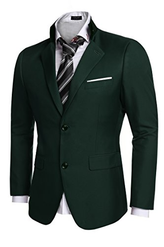 Coofandy Men's Casual Dress Suit Slim Fit Stylish Blazer Coats Jackets, Size Small, Green]()