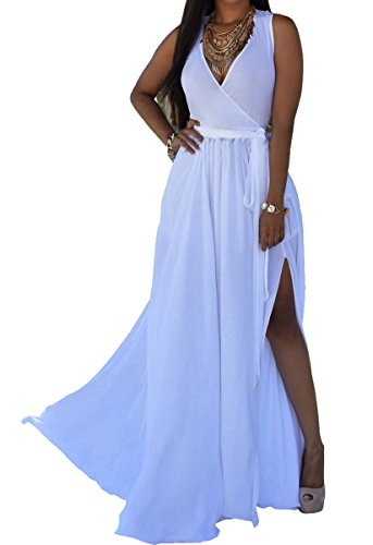 Long White Summer Dress - HannahZone Womens Sexy V Neck Sleeveless Long Maxi Split Evening Chiffon Summer Dress with Belt,White,XX-Large