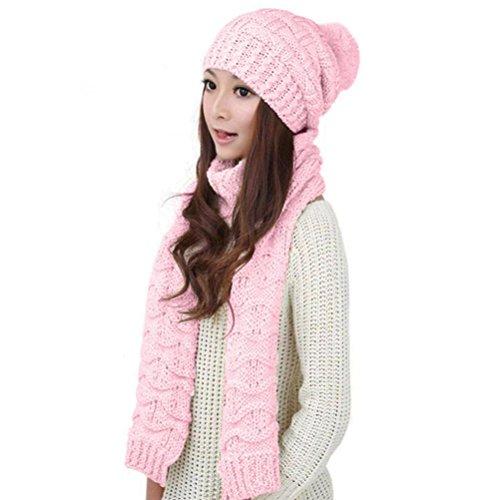RNTOP Women Thick Warm Woolen Knit Hood Scarf Shawl Caps Hats Suit (Pink)