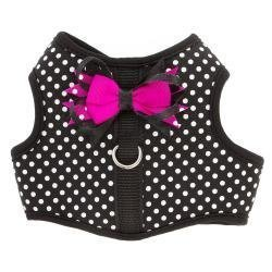 TOP PAW Polka Dot Bow Dog Vest Harness Black~XX-Small~