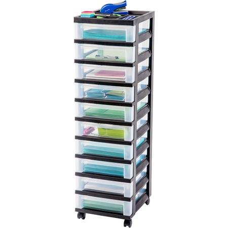 IRIS 10-Drawer Rolling Storage Cart, Black