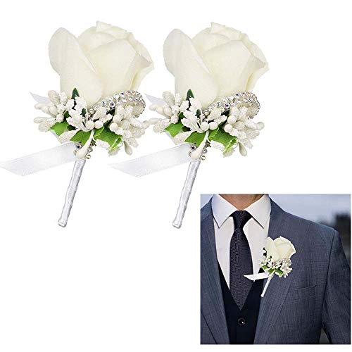 LSKY 2Pcs Rose Corsage and Boutonniere Set Boutonniere Buttonholes Groom Groomsman Best Man Rose Wedding Flowers Accessories Prom Suit Decoration for Men and Women