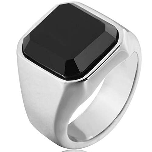 - WFF Stainless Steel Black Onyx Signet Style Ring (Black, 14)