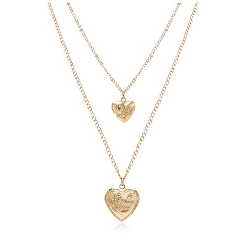 T-Doreen Gold Heart Locket Pendant Necklace for Women Girls Beaded Chain Layered Choker ()