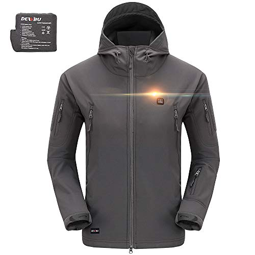 DEWBU Men's Soft Shell Heated Jacket with Battery Pack DB-12 2.0 (Gray, XL) - 12 Months Warranty