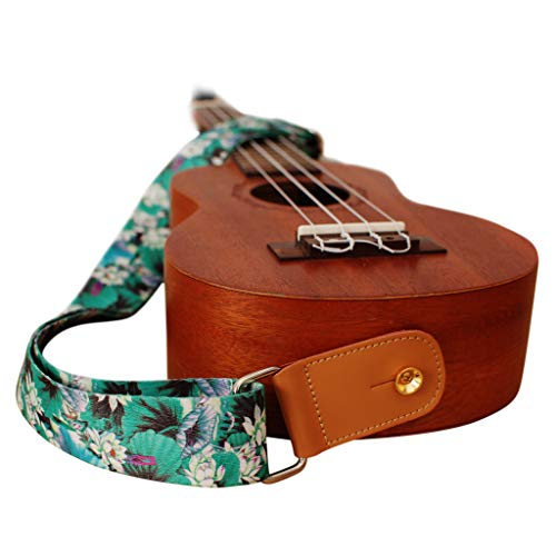 """MUSIC FIRST Original Design /""""LOTUS/"""" Soft Nylon /& Genuine Leather Ukulele Strap Ukulele Shoulder Strap With a MUSIC FIRST Genuine Leather Strap Locker"""
