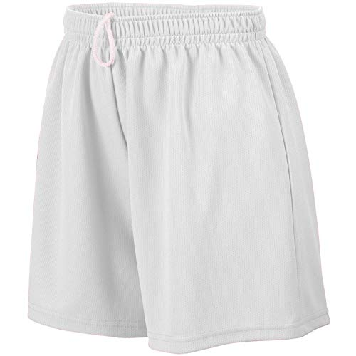 Augusta Sportswear Teen-Girls Wicking Mesh Short, White, Large ()