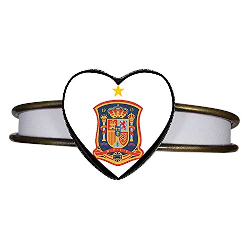 GiftJewelryShop Bronze Retro Style UEFA Euro Spain national soccer team Heart Cuff Bangle Bracelet