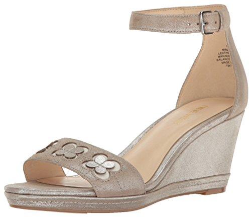 Nine West Women's Julian Metallic Wedge Sandal, Silver, 9 M US 25026383
