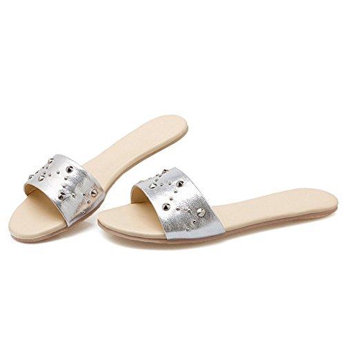 Femmes TAOFFEN Pantoufle Ete Sandales Silver Plates 14aYw4