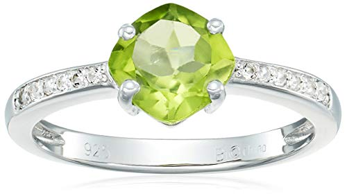 Sterling Silver Peridot and White Topaz Ring, Size 8