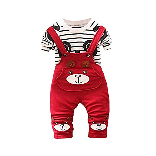 Price comparison product image Pocciol Cute 0-24M Baby Boys Girls Clothes Set,  Toddler Kids Panda Print Tops + Pants Overalls Outfit (Red,  S)