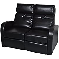 Home Theater 2-Seat Recliner Artificial Leather Lounge Movie Seats (Black)