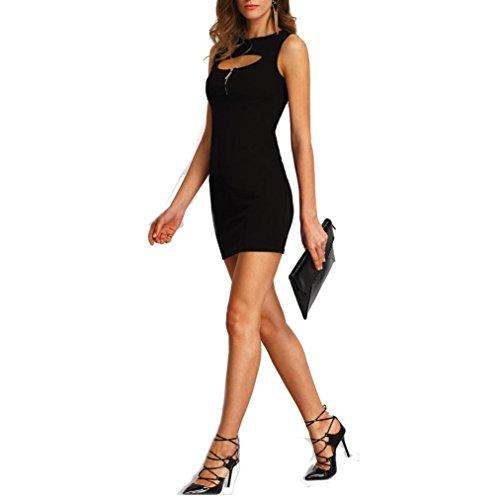 Charberry Women Slim Hollow Short Mini Dress (XL, Black)