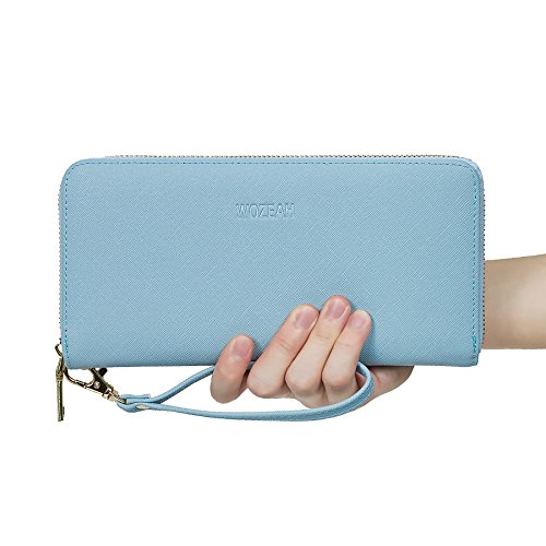 WOZEAH Women's RFID Blocking PU Leather Zip Around Wallet Clutch Large Travel Purse (blue)