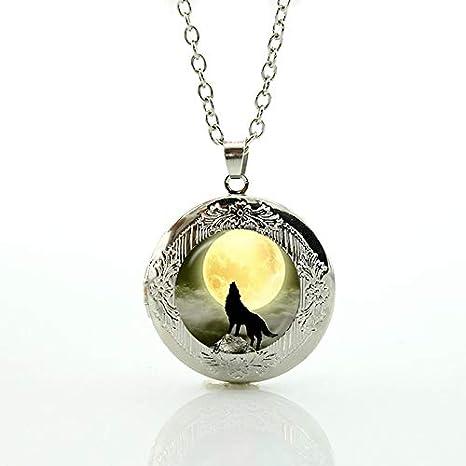 Amazon.com: Mct12-1 Collar con colgante de lobo de luna ...
