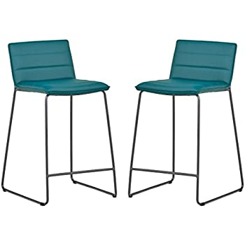 Fine Rivet Julian Minimalist Modern Tufted Dining Room Counter Height Bar Stools Set Of 2 34 3 Inch Height Synthetic Leather Aqua Blue Machost Co Dining Chair Design Ideas Machostcouk