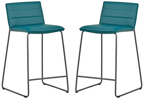 Rivet Julian Minimalist Modern Tufted Dining Room Counter Bar Stools, Set of 2, 34.3 Inch Height, Synthetic Leather, Aqua Blue (Bar Teal Leather Stools)