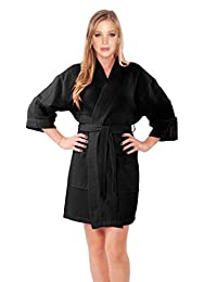 TowelSoft Women's Turkish Cotton Blend Spa Rope Waffle Weave Kimono Bathrobe Cover up