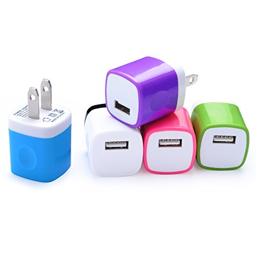 Wall Charger, NonoUV 5-Pack 1Amp Universal Home Travel Charger Plug USB Charging Adapter for iPhone 7/6/6S Plus, Samsung Galaxy S5 S7 S6 Edge, Note3 4 5, HTC, LG, Sony, PS4, Goggle, Nokia Phones ()