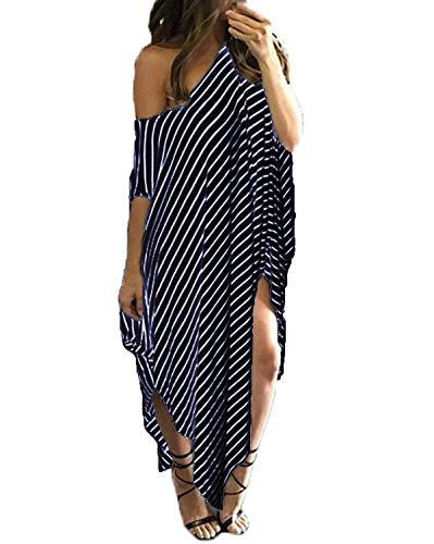 Kidsform Women Maxi Dress Striped Long Dresses Casual Loose Kaftan Oversized Round Neck Sundress, Navy, XX-Large