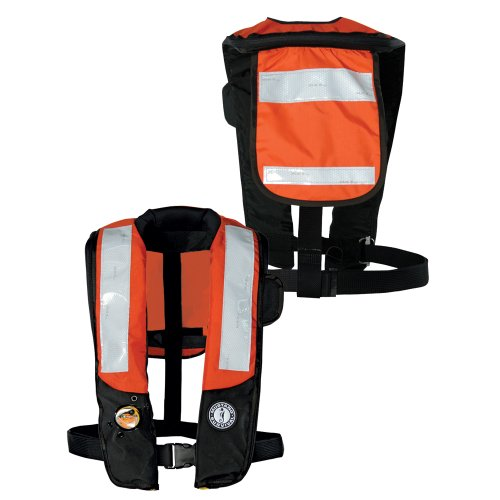 Mustang Deluxe Auto Inflator - Mustang Survival Corp Inflatable PFD with HIT (Auto Hydrostatic) with Back Flap and Solas Reflective Tape, Orange/Black