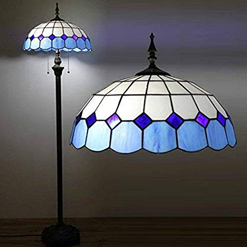 - W&HH Tiffany Glass Living Room Floor Lamp Mediterranean Blue Bedroom Bedsides Floor Lights Study Room Floor Light