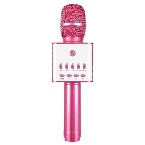 (Karaoke Microphone Bluetooth Speakers Wireless KTV Singing System Dual Speakers Rechargeable for all IOS/Android Smartphone Smart TV or PC (Pink))