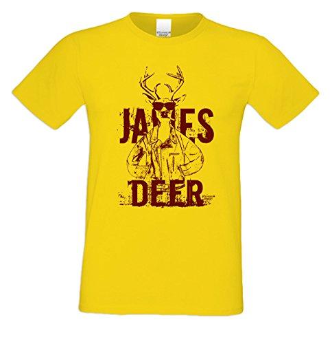 Wiesn T-Shirt - Cooler Hirsch James Deer rot Shirt Farbe gelb - Funshirt für's Oktoberfest statt Lederhose und Dirndl