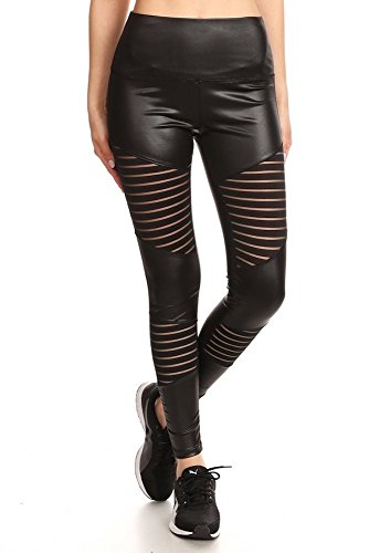 Womens Girls PU Faux Leather Leggings With Stripe Mesh Panels Pants ()