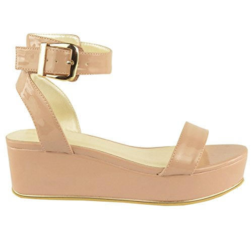 Fashion Thirsty Womens Low Wedge Heel Ankle Strap Summer Sandals Flatform Shoes Size 7
