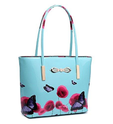 Black Women's Bucket Handbag 8 EAMUK Patent of 2 Bow Set Bag MA34786 Poppy Ladies Shoulder Butterfly wTZgnHaqSx