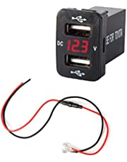 LinLin 12V Dual USB Ports Car Charger Socket Voltmeter 4.2A Power Adapter for Toyota