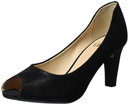 Caprice 29300, Zapatos de Punta Descubierta para Mujer Negro (Black Suede)