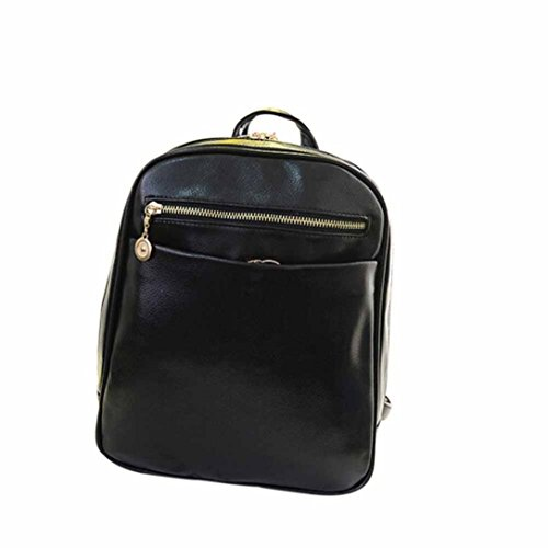 Elevin Women Girls Leather Boys Rucksack Travel TM Fashion Backpack Bag School Shoulder New Black Satchel q1qr0cI
