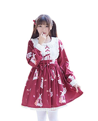 ROLECOS Womens Lolita Dress Doll Collar Maid Dress Chiffon Sweet Printed Dress Red -