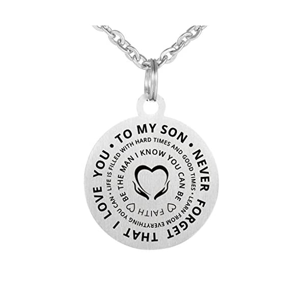 Love Christmas Gift To My Son Never Forget That I Love You Stainless Steel Dog Tag Pendant Necklace Keychain Be The Man You Can Be