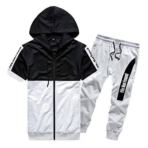 Stoota Fashion Men's Mesh Patchwork Sport Casual Hooded Short-Sleeved Top Seven-Quarter Shorts Suit White -